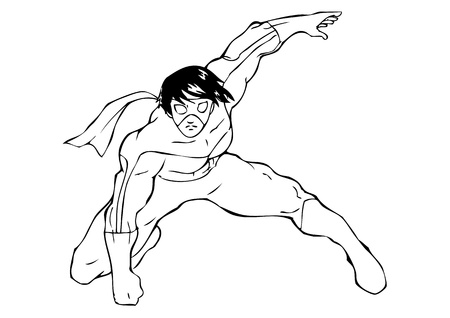muscly: Outline illustration of a superhero wearing a mask