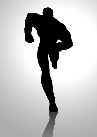 heroic: Silhouette illustration of a muscular male figure running