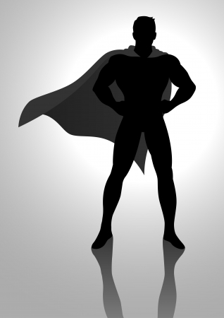 tough man: Silhouette illustration of a superhero posing