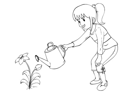 Outline illustration of little girl watering the flower Vector