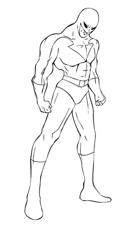 muscly: Outline illustration of a superhero with a mask