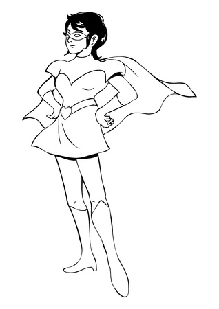 heroism:  Outline illustration of a woman figure in superhero suit Illustration