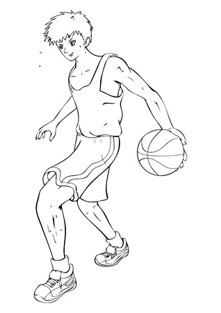 sport cartoon:  Outline illustration of a teenager playing basket ball