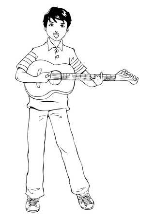 guy playing guitar: Outline illustration of a teenager playing guitar