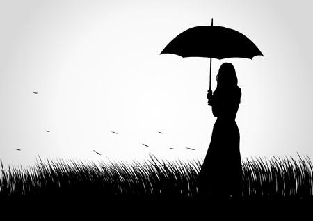 Silhouet illustratie van een meisje met paraplu op gras veld