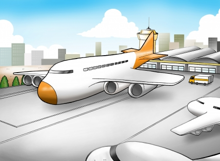 domestic scene: Cartoon illustration of an airport
