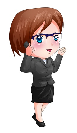 caricatura: Ilustración de dibujos animados lindos de una figura de mujer en un traje que usa el teléfono celular
