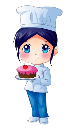 gourmet cooks: Cute cartoon illustration of a chef