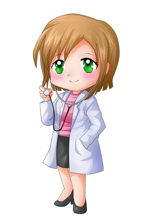kid doctor: Cute cartoon illustration of a doctor Stock Photo
