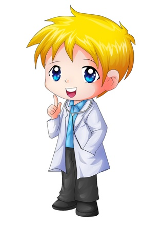a physician: Cute cartoon illustration of a doctor Stock Photo