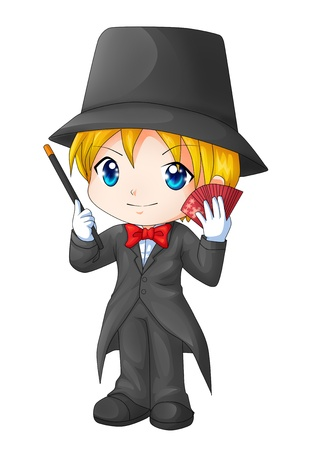 hocus pocus: Cute cartoon illustration of a magician