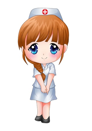 female nurse: Cute cartoon illustration of a nurse