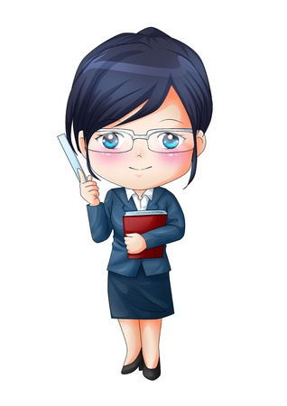 manga girl: Cute cartoon illustration of a teacher Stock Photo