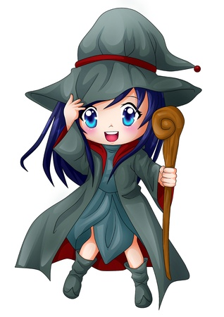 chibi: Cute cartoon illustration of a witch Stock Photo
