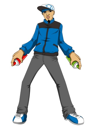 vandalize: Cartoon illustration of a male figure holding a spray can ready to draw graffiti Stock Photo