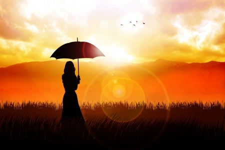 Silhouette illustration of a girl with umbrella at grass field Stock Illustration - 18662097