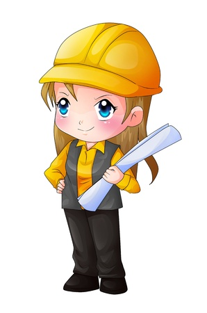 female architect: Cute cartoon illustration of an architect