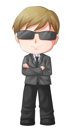 Cute cartoon illustration of a man figure in a suit and sunglass illustration