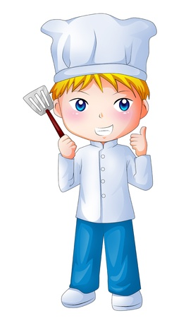 little chef: Cute cartoon illustration of a chef
