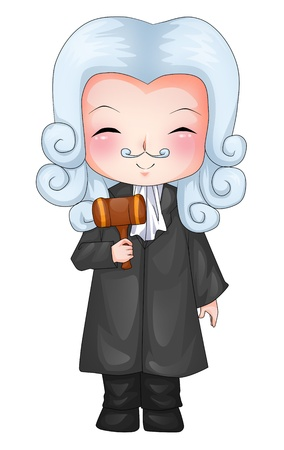 judge hammer: Cute cartoon illustration of a judge