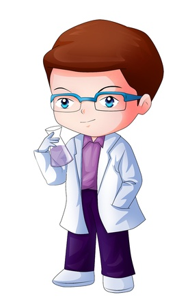Cute cartoon illustration of a researcher illustration
