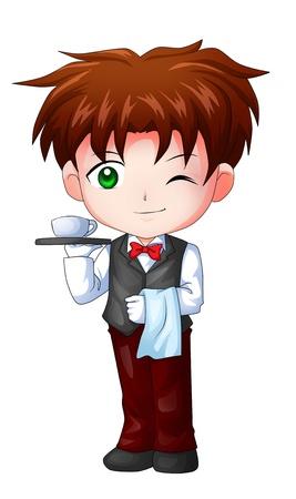 chibi: Cute cartoon illustration of a waiter