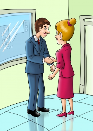 business people shaking hands: Cartoon illustration of a male figure shaking hands with female figure Stock Photo