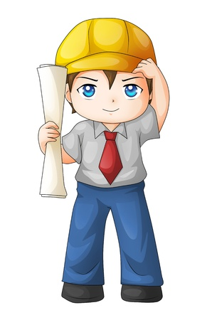 architect drawing: Cute cartoon illustration of an architect
