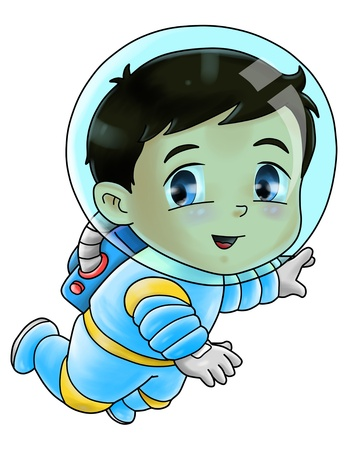 astronauts: Cute cartoon illustration of an astronaut