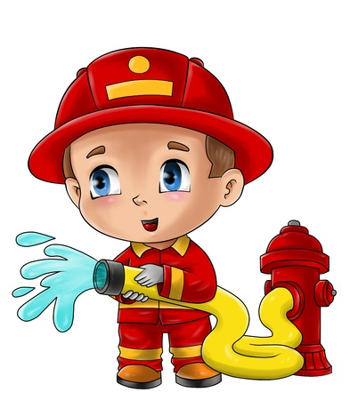 water hoses: Cute cartoon illustration of a fireman Stock Photo