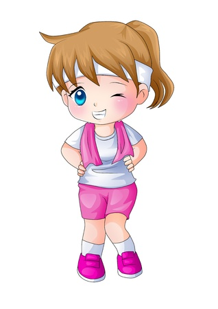 chibi: Cute cartoon illustration of a fitness trainer
