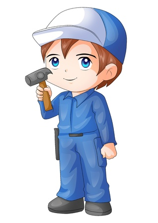 Cute cartoon illustration of a handyman Stock Illustration - 18890881