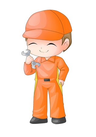 kiddies: Cute cartoon illustration of a mechanic holding a wrench