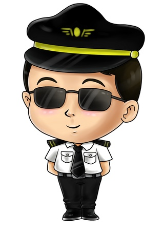 Cute cartoon illustration of a pilot illustration