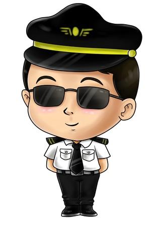 piloto: Ilustración de dibujos animados lindo de un piloto Foto de archivo