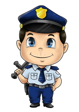 police cartoon: Cute cartoon illustration of a policeman Stock Photo