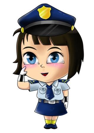 femme policier: Illustration mignonne de bande dessinée d'une policière