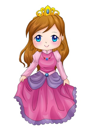 princess dress: Cute cartoon illustration of a queen