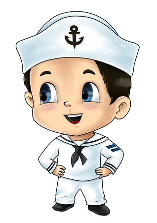 sailor hat: Cute cartoon illustration of a sailor