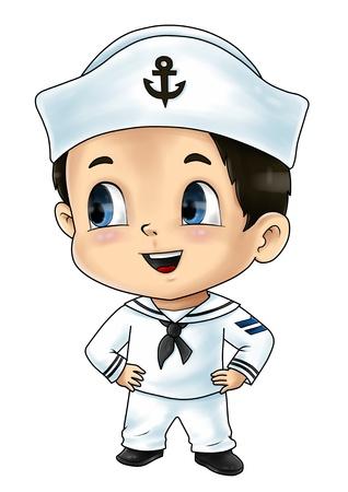 marinero: Ejemplo lindo de la historieta de un marinero
