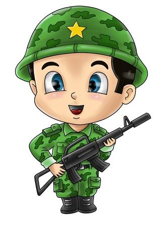 cartoon soldat: Nette Karikaturillustration eines Soldaten
