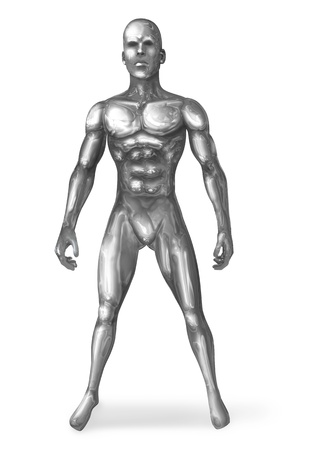 muscular build: Illustration of a chrome man in standing pose