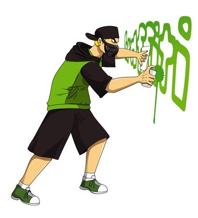 urban colors: Ilustración de dibujos animados de graffiti dibujo de la figura masculina mediante pulverización puede