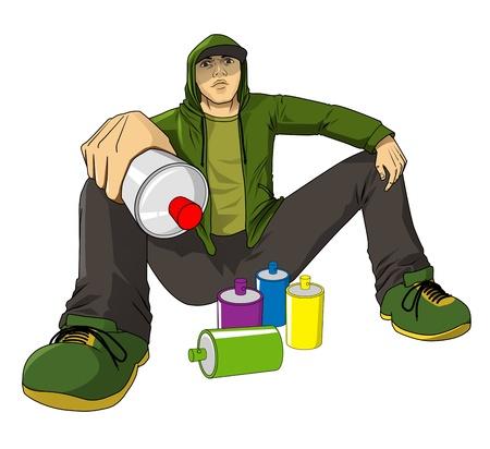 Cartoon ilustración de una figura masculina con botes de spray