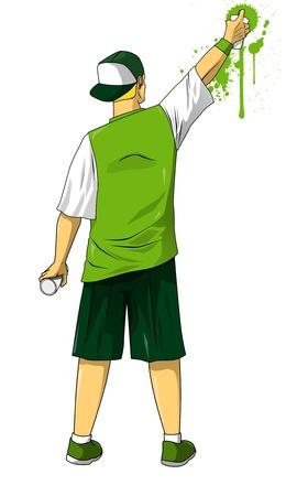 grafitis: Ilustración de dibujos animados de graffiti dibujo de la figura masculina mediante pulverización puede