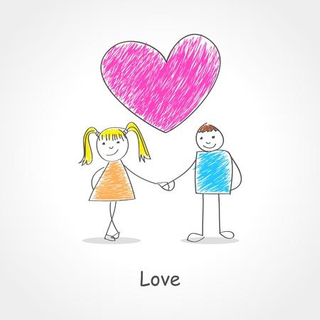 kiddies: Ejemplo del estilo del Doodle de una pareja tomados de la mano con el s�mbolo del coraz�n por encima de ellos Vectores