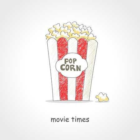 watching movie: Doodle style illustration of a box of popcorn Illustration