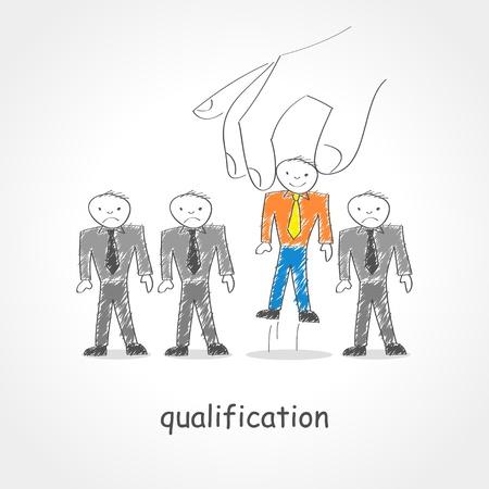 kiválasztás: Doodle stílusú illusztráció egy óriási kéz felvette a férfi figura