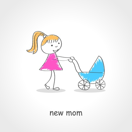 baby s: Doodle style illustration of a female figure pushing baby strollers