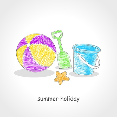 kiddies: Doodle style illustration of beach ball and beach toys